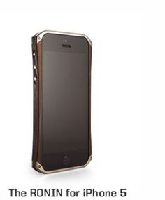 Element Ronin iPhone 5 case. Nickel plated 6061 aluminum, CNC machined exotic wood rails, Genuine Leather and Ultrasuede back plates. Made in the USA.