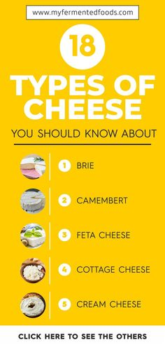 18 Types of Cheese You Should Know About 18 Types of Cheese You Should Know About My Fermented Foods Sourdough Sauerkraut Kombucha Recipes MyFermentedFoods Cheese Do you nbsp hellip No Dairy Recipes, Whole Food Recipes, Snack Recipes, Detox Recipes, Vegan Recipes, Stilton Cheese, Gruyere Cheese, Non Dairy Cheese, Popular Cheeses