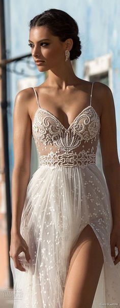 gali karten 2018 bridal spaghetti strap sweetheart neckline heavily embellished bodice high slit skirt romantic soft a line wedding dress sweep train (13) lv -- Gali Karten 2018 Wedding Dresses #weddingdresses