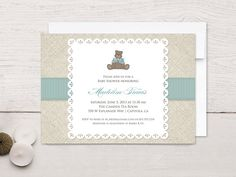 Baby Shower Invitations Linen Teddy by rockpaperdove on Etsy, $40.00