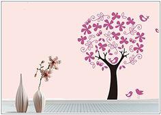 sticker mural arbre oiseau branches vrille chambre d'enfant papillon fleurs 40 couleurs pour le choix wbm40(073 gris foncé, set3:arbre 90cm x140cm (H) ): Amazon.fr: Cuisine & Maison