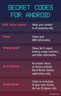Codes For Android The for There are the most insane key combinations that will give you access to the all hidden functions of your included.Android Android may refer to: Android Secret Codes, Android Codes, Iphone Codes, Iphone Secret Codes, Simple Life Hacks, Useful Life Hacks, Teen Life Hacks, Telefon Codes, Life Hacks