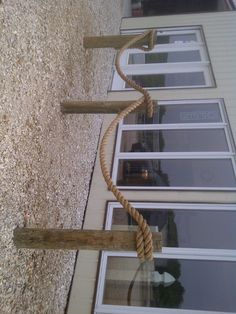 Nautical Rope Fence; Use the post for the split rail fence. When able, finish installing the rails...