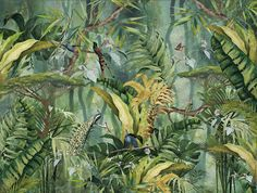 Behang - XL muurprints - Stories on the Wall Forest View, Forest Art, Tropical Art, Tropical Leaves, Tropical Wallpaper, Outdoor Paint, Botanical Drawings, Diy Wall Art, Wall Design