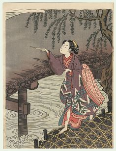 Beauty under a Willow Tree by Harunobu (1724 - 1770)