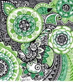 Complicated doodle in greens and black by yael360.deviantart.com on @DeviantArt