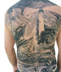 full mens back tattoo with underwater scene cool tattoos pinterest underwater tattoo and. Black Bedroom Furniture Sets. Home Design Ideas