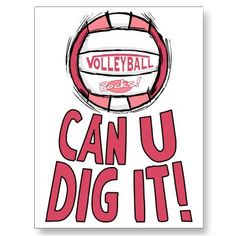 Can U Dig It Volleyball Pink Post Cards from Zazzle.com