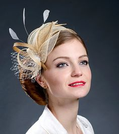 Beige champagne gold and gold fascinator hat for by MargeIilane