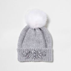 a95b5372fbe Knitted fabric Jewel embellishment Faux fur pom pom top Turn-up hem