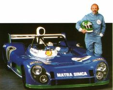 Portrait of Henri Pescarolo and the victorious Matra MS after their victory at Le Mans Sports Car Racing, Race Cars, Le Mans, Matra, Car And Driver, Cars And Motorcycles, Victorious, Super Cars, Sports Teams