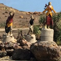 Statues at kuta, Lombok. Legend has it that the beautiful lady was pursued by a number of suitors and then she jumped into the ocean and turned into sea snakes :) they have a celebration every February here and catch/eat sea snakes! #upsticksandgo #seasn