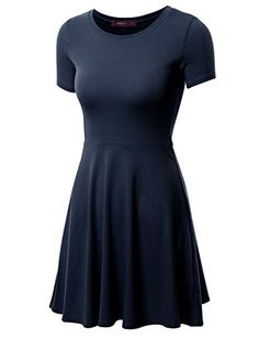Doublju Women Casual Short Sleeve Round Neck Flare Mini Dress
