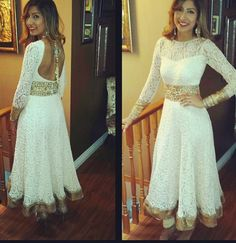 Amazing white lace anarkali suit