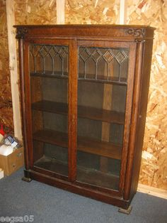 In Maine Leaded Gl Door Solid Oak Bookcase 62 Tall 4 Shelves