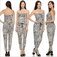 Pretty tube jumpsuit ONE DAY SALE Pretty print tube jumpsuit PLEASE comment on the size you want and will make you a personalized listing Dresses