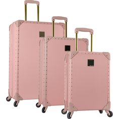 Classic, with a modern twist, The Vince Camuto Jania 3 Piece Hardside Spinner Luggage Set is a true understated beauty. Featuring a trolley handle that moves with the push of a button, t
