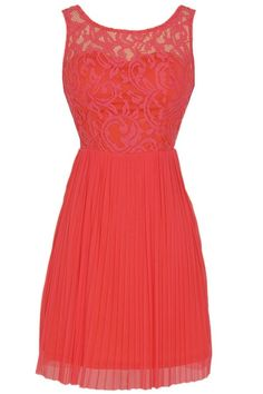 Perennial Garden Lace and Pleated Tulle Dress in Coral- bridesmaid dress?