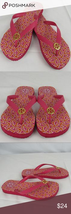 Tory Burch flip flops Tory Burch pink and orange geometric shape flip flops. I think they're in good preowned condition but please zoom in throughout the pictures to feel good about color and condition.  INV-A1-170421 Tory Burch Shoes Sandals
