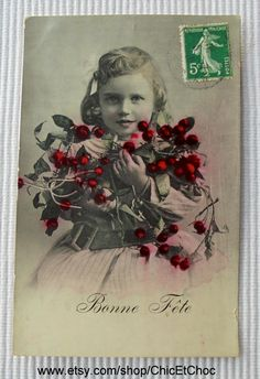 Antique French Postcard - Girl with Flowers by ChicEtChoc on Etsy