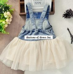 Denim Tutu Overall Dress by ButtonsandBowsInc on Etsy
