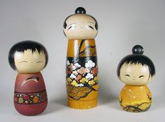 Inspired by the famous folk dolls of Japan, Lisa and Jacob Hodsdon create beautiful Kokeshi dolls that are believed to bring peace and prosperity. Each doll is hand-turned by Jacob and then painted with acrylics by Lisa. - Creations Gallery