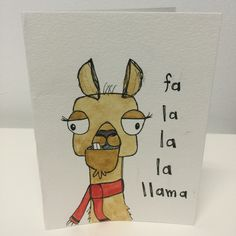 handmade card- fa la la la llama. by klinedesignutah on Etsy llama. fa la la la la. christmas. christmas card. tis the season. gift. all i want for christmas. christmas pun. christmas funny. ho ho ho. st. nick. jolly. santa claus. santa hat. beard. moose. merry chrismoose. merry christmas. christmas lights. scrooge. the night before christmas. sheep. lamb. baaah. bah hum bug.