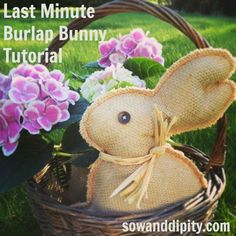 last minute burlap bunny project, crafts, easter decorations, seasonal holiday d cor, Bunny in a basket Hoppy Easter, Easter Bunny, Easter Eggs, Burlap Projects, Burlap Crafts, Outdoor Projects, Sewing Projects, Bunny Crafts, Easter Crafts