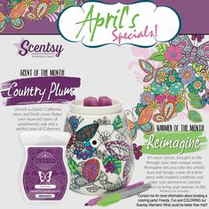 Scentsy - warmer&scent of the month (April) Krista Rector Independent Scentsy Consultant on Facebook