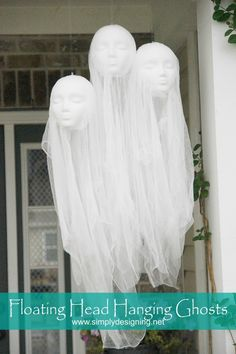 Scary DIY Halloween decorations: Floating head ghosts by Simply Designing