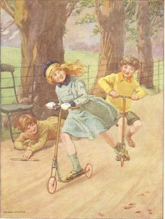early 1900s children book illustrations | ... On Scooters In Park Book Blonde Girl Winning Plate Book Illustration