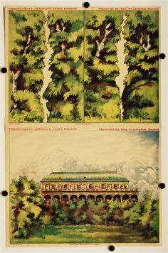 Arch c. 10a. Zahrada (Belvedere) pozadí. / 10b. Zahrada kulisy. Münzbergovy dekorace z ceske historie. Navrhl Dr. Ing. Svatopluk Bartos.