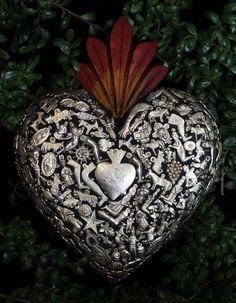 Large Black Wood Heart Silver Milagros Miracle Ex Voto Folk Art Michoacán Mexico