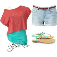 Spring/ Summer 2013 Outfits for Women by Stylish Eve. I realllyy wish i had this outfit Cute Summer Outfits, Short Outfits, Pretty Outfits, Spring Outfits, Cute Outfits, Summer Clothes, Jean Outfits, Summer Shorts, Pretty Clothes