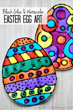 This black glue and watercolor resist Easter egg art makes a fun Easter craft for kids and people of all ages. Fun Easter kids craft and spring kids craft.