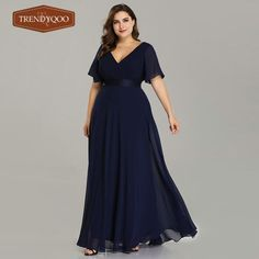 Plus Size Pink Prom Dresses Long Ever Pretty V-Neck Chiffon A-line Robe De Soiree 2019 Navy Blue Formal Party Gowns for Women 3 Plus Size Long Dresses, Bridesmaid Dresses Plus Size, Evening Dresses Plus Size, Cheap Evening Dresses, Elegant Dresses, Evening Gowns, Evening Party, Evening Cocktail, Bridesmaid Gowns