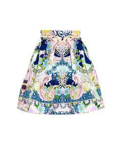 Mary Katrantzou Algernon garden-print satin skirt