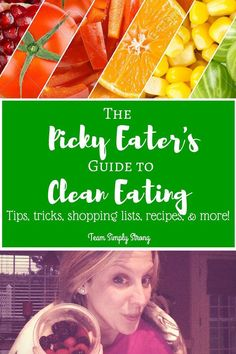 Clean Eating Diet Picky Eater's Guide to Clean Eating - Healthy food, Recipes, Shopping Lists, Etc. - This is a 14 page digital guide (PDF) that I created for picky eaters! As a health and fitness coach, so many people tell me they have a hard time eating Clean Eating Tips, Healthy Eating Tips, Good Healthy Recipes, Clean Recipes, Clean Eating Snacks, Healthy Habits, Healthy Snacks, Fast Recipes, Eating Habits