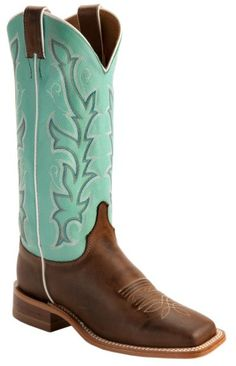 Justin Teal Bent Rail Cowgirl Boots - Square Toe available at #Sheplers