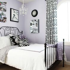 Soft lavender with black and white guest bedroom