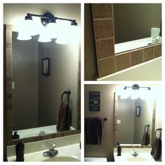 Upcycled my basic construction grade mirror by adhering tiles around the edge with adhesive caulk. $5.24 total for the tiles at Lowe's and I already had the caulk. Super cheap & makes it look so upscale!