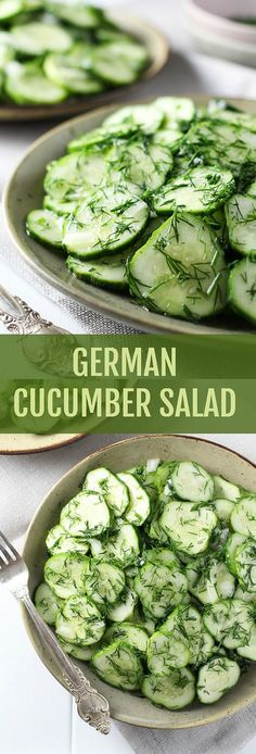 This simple German Cucumber Salad is crunchy and refreshing. It's perfect fo… This simple German Cucumber Salad is crunchy and refreshing. It's perfect for a family dinner or a party. The leftovers taste great too. Vegetarian Recipes, Cooking Recipes, Healthy Recipes, Simple Salad Recipes, Vegetarian German Potato Salad Recipe, German Food Recipes, Simple Salads, Vegetable Salad Recipes, Fast Recipes