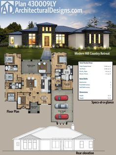Architectural Designs 4 Bed Modern Hill Country House Plan has a large outdoor living area in back which adds to the square feet of heated living space inside. Where do YOU want to build? (How To Build A Shed Square Feet) Country House Plans, Dream House Plans, Modern House Plans, House Floor Plans, Modern Garage, Modern Stairs, Building A Shed, House Layouts, Architecture Plan