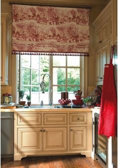 ccdc163a9a1 Kitchen ideas · French Country HouseFrench Country DecoratingFrench DecorFrench  CottageCountry CharmBlack Granite KitchenRed KitchenToile CurtainsCountry  ...