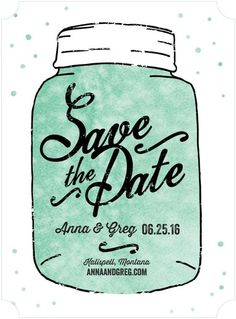Jubilant Jar - Signature White Save the Date Cards - Magnolia Press - Reef - Blue : Front