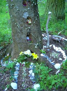 Tree pocket altar. Only do this if a hole already exists. Gouging out a chunk of a tree can allow disease to enter and damage the tree.