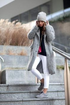 Fall outfit: Fuzzy gray coat, white jeans and sneakers