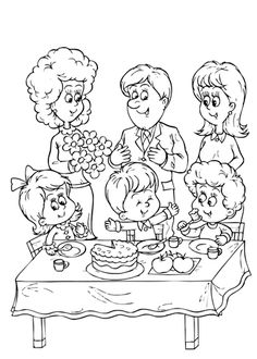 My family coloring page that you can free download and print for kids. Mothers and fathers, grandmas and grandads, sisters and brothers picture