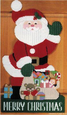 Plastic Canvas Xmas Nativity North Pole Tissue Cover Lg Santa Door Decor PATTERN