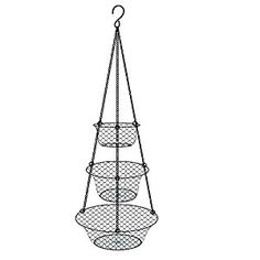 "A beautiful designed space saving chained 3 tier hanging basket. While not in use you can stack it up and store it. Size: 34""H x 10""diameter, ideal to use to display the fruits and vegetable in the basket in any home and kitchen. Clearly display the fruit in the basket Easily to chained or split for the three baskets Beautiful and elegant design Sturdy to hang for any fruit weight Product size:25.3.*25.3*82cm Package Size: 31*31*3cm Package Weight: 0.19kg Material: Iron"
